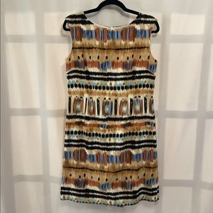 Tahari linen/rayon neutral tone ikat sheath dress